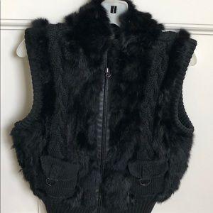 Belle Fare Rabbit Fur Vest with Leather Trim